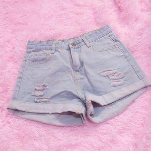 High Waist Mom Jean Shorts